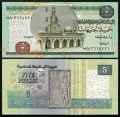 Egypt 5 Pounds 2008 P63 Uncirculated