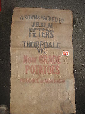 "hessian bag  ""Peters Thorpdale "", Potatoes'  wall display"