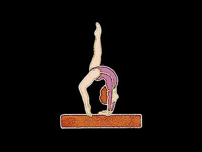 Beam Backwalkover Gymnastics Lapel Pin - OUR BEST SELLING CUTOUT DESIGN