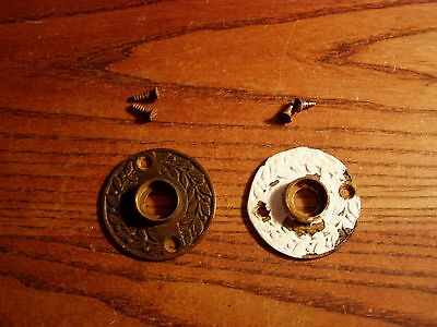 2 ANTIQUE VINTAGE Brass/Bronze VICTORIAN Eastlake rosetttes-with screws