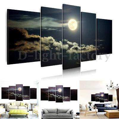 Canvas Prints Home Decor Wall Art Painting Picture Moon Night Clouds Unframed