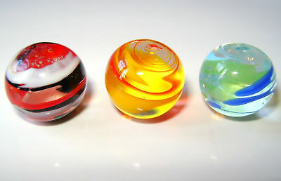 NEW SET OF 3 HANDMADE FLASHLIGHT 16mm GLASS MARBLES TRADITIONAL COLLECTORS HOM