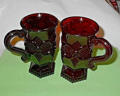 Lot 2 ~ Avon Cape Cod 1876 Ruby Red Glass Pedestal Mugs with Handle Cups