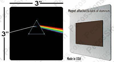 """Magnet - Pink Floyd Dark Side of the Moon Album Cover 3""""x3"""" Aluminum Made in USA"""