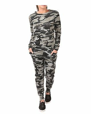 Ladies Womens Camouflage Military Print Loungewear Tracksuit Set Sweat Shirt top