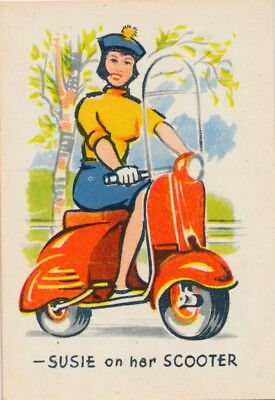 Vintage Single Game Swap Card: Susie on her Scooter