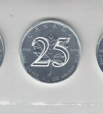 2013 Canada RCM 1 oz .9999 Silver Maple Leaf Coins, 25th Anniversary Edition