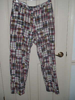 Jos A Bank Madras Patchwork Plaid Flat Front Casual Pants Size 33 30