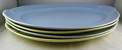 4 Luray China Taylor Smith Taylor Large Oval Serving Platters: 2 Blue, 2 Yellow