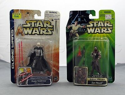 2001 Star Wars Episode 2 Clone Wars Asajj Ventress and Zam Wesell Action Figures