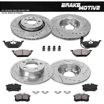 Front & Rear DRILLED SLOTTED BRAKE ROTORS AND CERAMIC PADS VW Beetle Golf Jetta