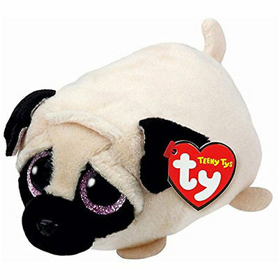 "TY Teeny Tys Candy Pug Beanie Babies 3"" Stuffed Plush Toy Stackable Tsum Tsum"