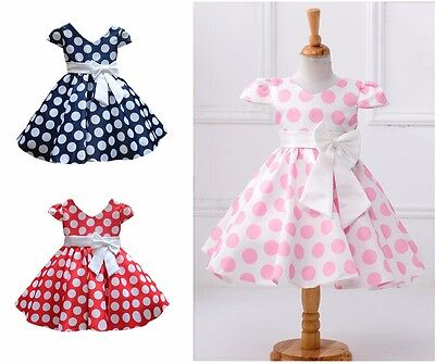 Little Girls Princess Dress Casual Puff Vintage Polka Dot Bow Skirt 1-10 Years