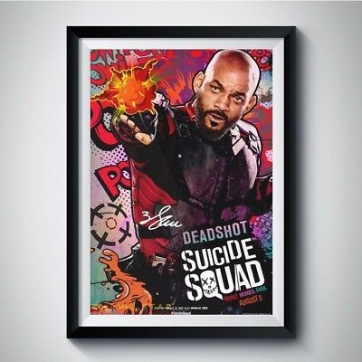 SUICIDE SQUAD Will Smith Autograph Reprint Movie Poster A4 A3 5R DEADSHOT