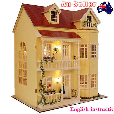 New Wooden Handmade Miniature Dolls house DIY Kit Large Furniture/Accessorie Aus