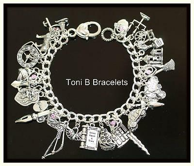 Once Upon a Time OUAT Inspired Curb Chain Charm Bracelet 22cm with 36 charms