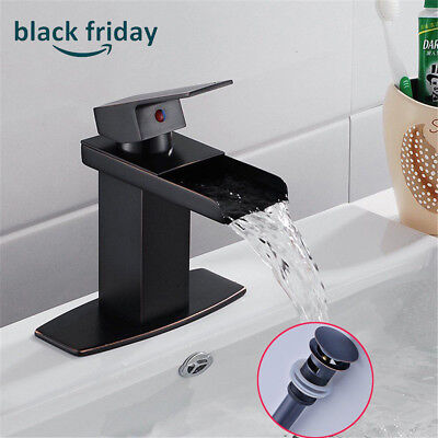 SINGLE LEVER OIL Rubbed Bronze Bathroom Sink Faucet Waterfall Vanity ...