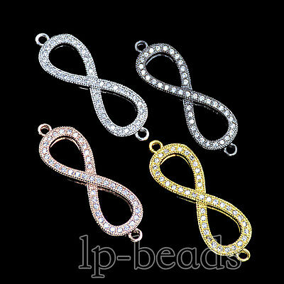 Zircon Gemstones Micro Pave Infinity Connector Charm Beads Bracelet Silver Gold