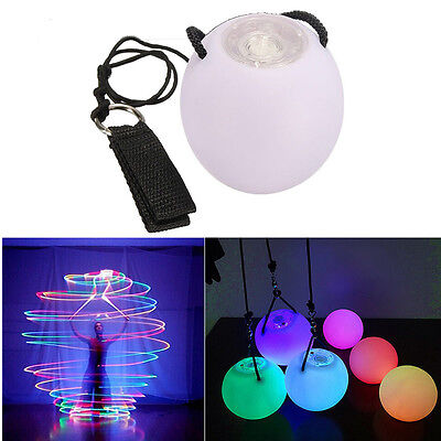 2 X LED Multi-Colours Glow POI Thrown Balls Light up For Belly Dance Hand Props