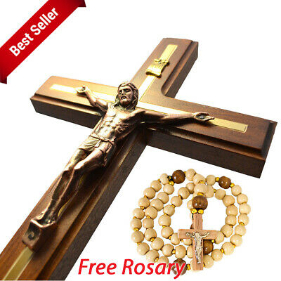 Large Catholic Wooden Wall Cross with Metal Crucifix Jesus Christ + Rosary GIFT
