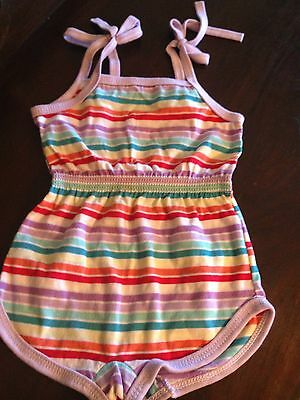 Vintage 60s Toddler Girls Sunsuit Romper Size 4 Outfit Shoulder Ties Playsuit
