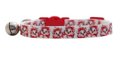 """Pink White  """"Pretty Kitty pink ears red bow """"   safety kitten cat collar 3 sizes"""