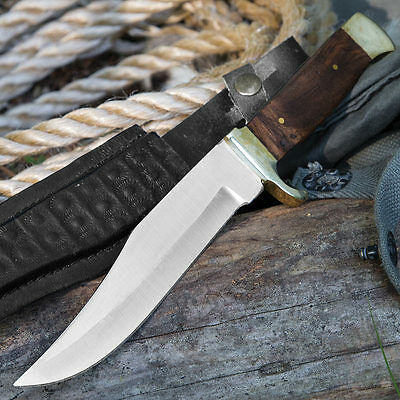 BOAR HUNTER Hunting & Skinning Knife - HOLLOW GROUND, FULL TANG - Leather Sheath