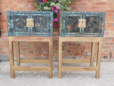 A GOOD PAIR OF EARLY 20thC ANTIQUE ORIENTAL CABINETS ON STANDS