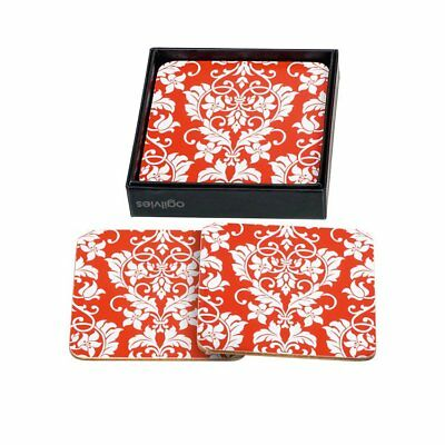NEW Ogilvies Designs Red Damask Coasters Set of 6