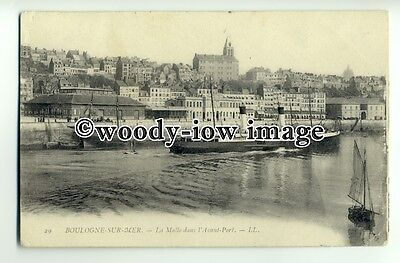 f0654 - Paddle Steamer in Boulogne - postcard LL29