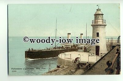 f0648 - Paddle Steamer passing Folkestone Lighthouse - postcard