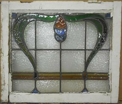 "EDWARDIAN ENGLISH LEADED STAINED GLASS WINDOW Pretty Abstract 24.75"" x 21"""