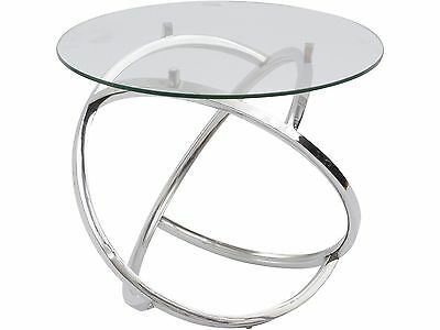 Libra Curl Silver Side Table 8mm Round Clear Glass Top Contemporary Steel 55cm