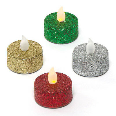 4 Christmas Glitter LED Tealight Candles Indoor Flickering Electric Tea Lights