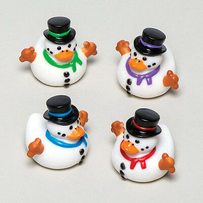Snowman Rubber Ducks Bathtime Toy Xmas Stocking & Party Bag Filler (Pack of 4)