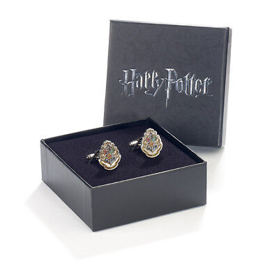 Official Harry Potter Hogwarts Crest Silver Plated Cufflinks Gift Boxed Movie