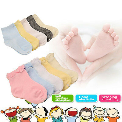10 Pairs 0-8Y Baby Boy Girl Cotton Socks NewBorn Toddler Kids Soft Socks Lot