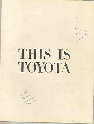 1936 Thru 1965 Toyota Car Truck History Corporate Prestige Brochure ww1845