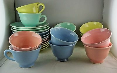 12 Taylor Smith Taylor Luray Pastel Cup + Saucer Sets - Four Colors
