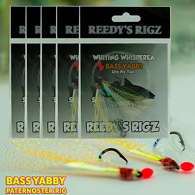5 Whiting Rigs KG Paternoster Fishing Rig Size 4 Hook Bait Flasher Lure Boat Fly