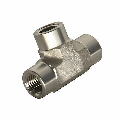 """HFS 1/4"""" NPT TEE Fitting - Female FNPT 3-Way Tee Stainless"""