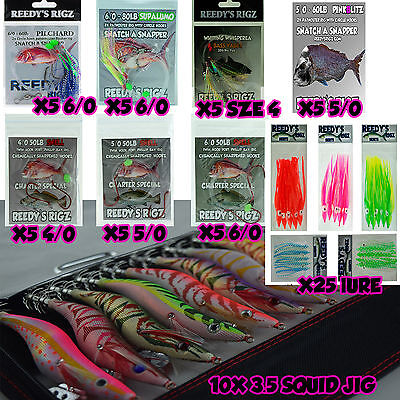 Tackle Pack 10  Squid Jigs + Snapper Pack 40 Rigs Lures Baits  + 25 Lures