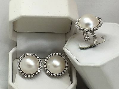 Vintage 2.30 ctw MABE PEARL & DIAMOND 18K White Gold EARRINGS & RING SET