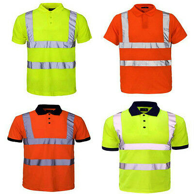 Hi Vis Polo T-Shirt High Visibility Reflective Tape Safety Security Work Top