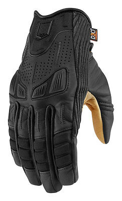 ICON 1000 AXYS Leather Motorcycle Gloves (Black) Choose Size
