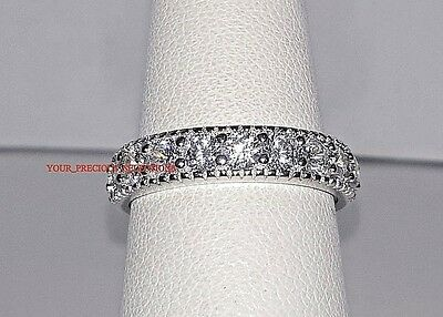 Round Cut CZ Wedding Band .925 Sterling Silver Ring Sizes 4 to 11