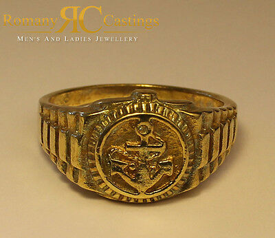 Men's Polished Anchor Ring  cast in 9ct Solid Gold 10.5 grams Fully Stamped