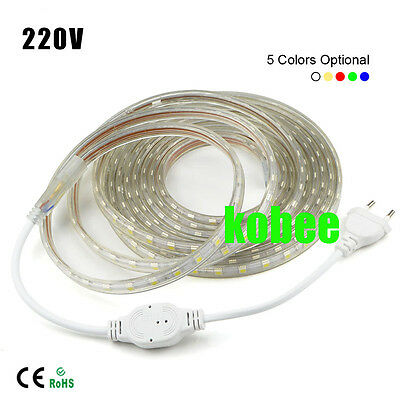 1-20m 5050 LED Flexible Tape Rope Strip Light Xmas Outdoor Waterproof 110V/220V