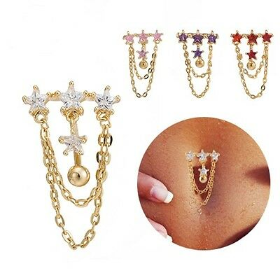 Navel Belly Bar Crystal Body Piercing Belly Button Ring Four Star Half Round