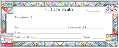 60 ct Merchant Retail Gift Certificates with Envelopes Quilt Print Made In USA